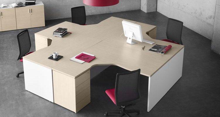 Isla de trabajo con mesas block