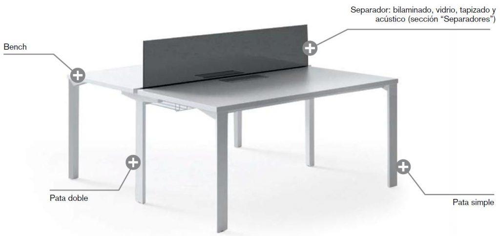 mesas logos bench 2 puestos con división central