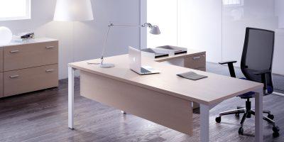 Mesas logo arce estructura blanca con faldón