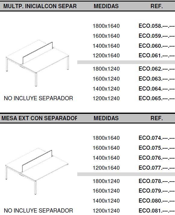 Mesas eco nix con divisor medidas
