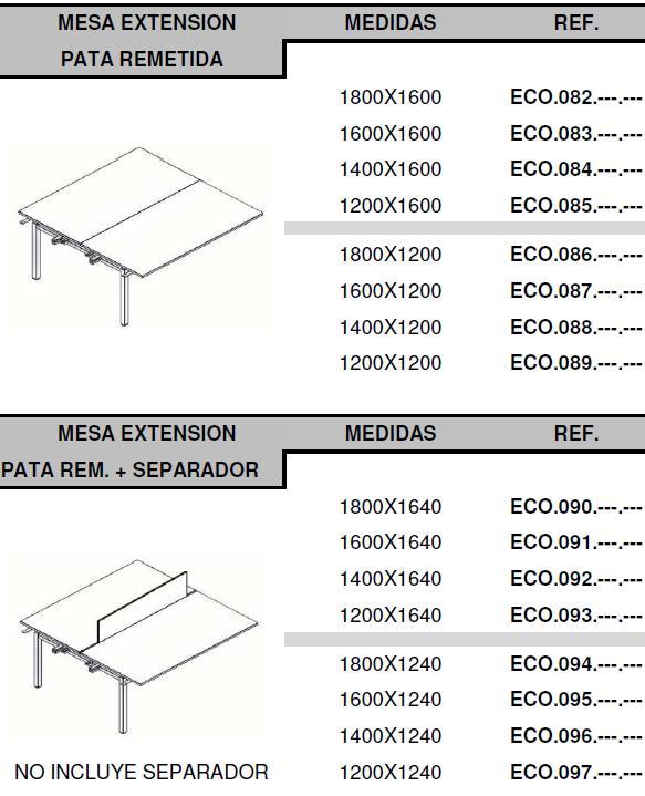Mesas eco nix medidas puestos ampliación