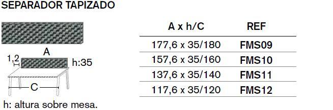 Medidas separador tapizados para mesa tapa de 30