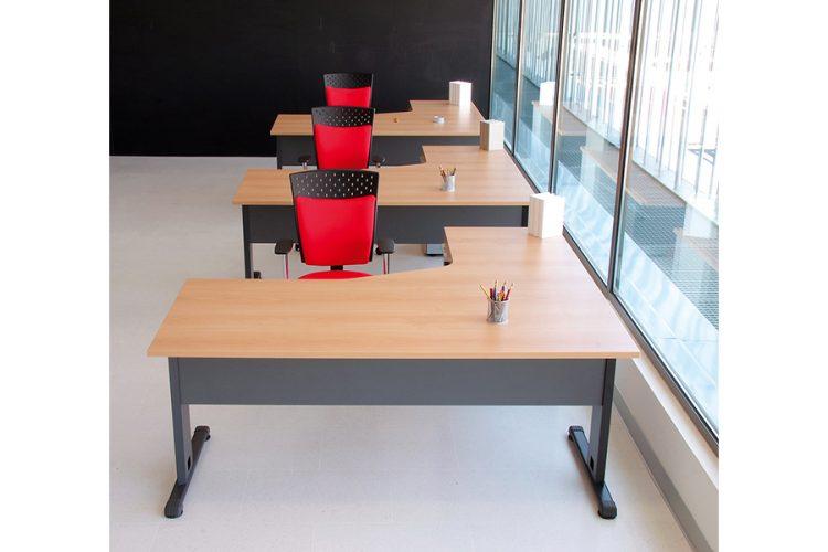 Mesas hydra classic puestos operativos color madera estructura metálica