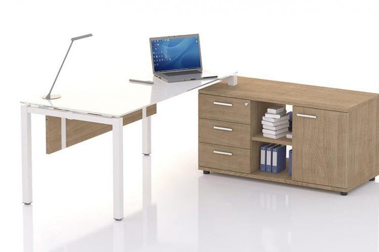 Mesa eco nix con mueble auxiliar soporte con cajones y puerta