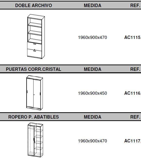 Armarios combinados metálicos y bilaminado altos medidas con puertas