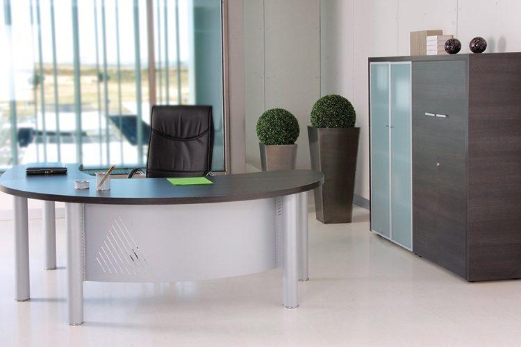 Mesas despacho duo curva con faldón curvo metalico