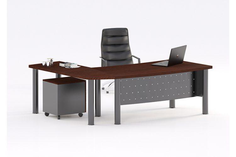 Mesas despacho duo curva con faldón recto grafito
