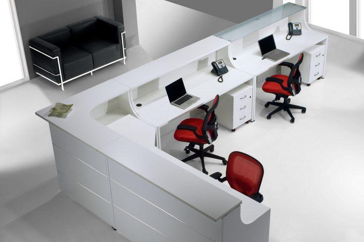 Mostrador EURO dibujo entorno oficinas recto sobre de cristal y bilaminado