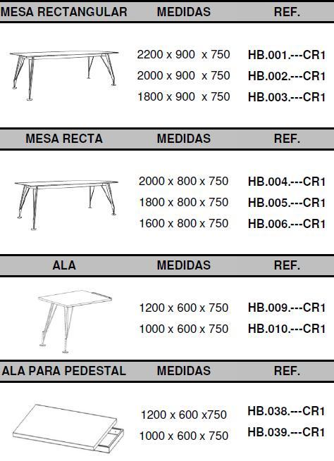 Mesas dirección Heos medidas mesas rectangulares