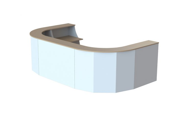 Mostradores de recepción espacio con diferentes acabados frentes blanco