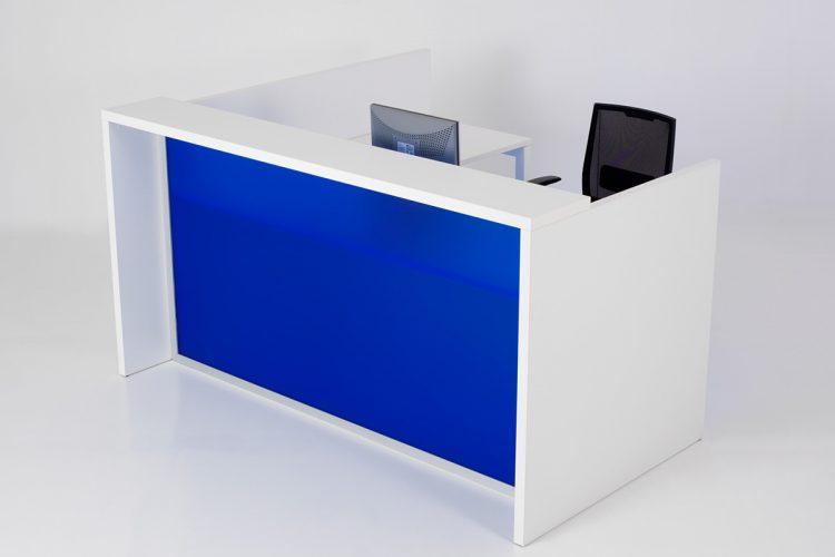 Mostrador Pannel combinación acabados de melamina azul y blanco