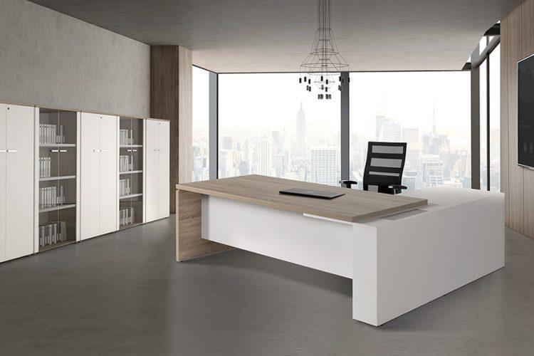 Mesas ejecutiva de dirección G3 combinada madera con blanco
