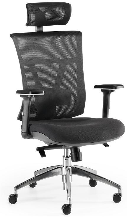 Sillas Ankara sincro respaldo y cabezal en malla negra asiento tapizado en tela negra brazos regulables