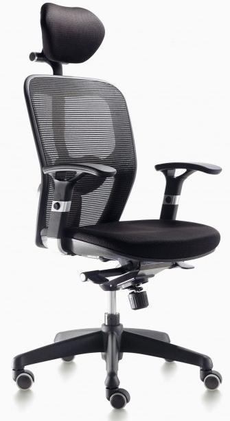 Sillas Boston CB mecanizado sincro con brazos regulables asiento tapizado respaldo en malla con cabezal color negra