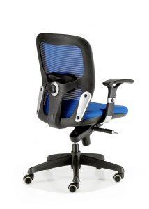 Silla Boston mecanizado sincro con brazos regulables asiento tapizado respaldo en malla color azul