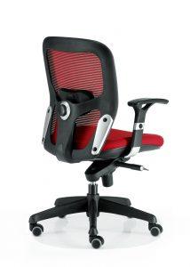 Sillas Boston mecanizado sincro con brazos regulables asiento tapizado respaldo en malla color roja