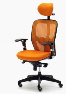 Sillas Boston CB mecanizado sincro con brazos regulables asiento tapizado respaldo en malla con cabezal color nsranja