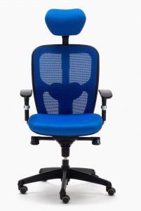 Sillas Boston CB mecanizado sincro con brazos regulables asiento tapizado respaldo en malla con cabezal color azul