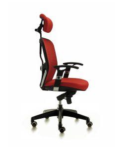 Silla Boston mecanizado sincro con brazos regulables asiento tapizado respaldo en malla con cabezal color roja