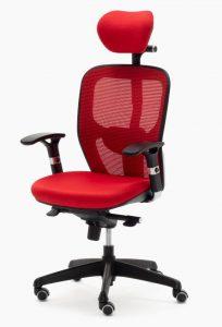 Sillas Boston CB mecanizado sincro con brazos regulables asiento tapizado respaldo en malla con cabezal color roja