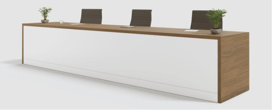 Mesa conferencia Pannel color blanco y cerezo