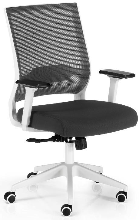 Silla Sidney sincro respaldo en malla negra asiento tapizado en tela negra estructura y carcasa en blanco