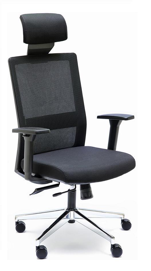 Silla NIza GN C respaldo en malla negro asiento tapizado color negro con cabezal