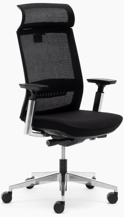 Silla Toronto con cabezal y respaldo en malla negra sistema sincro elevación por pistón asiento tapizado en tela negra brazos regulables y apoyo lumbar, base aluminio pulido.