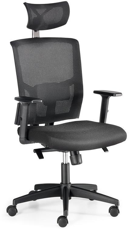 Sillas Viena con cabezal respaldo en malla negra asiento tapizado en tela negra sistema sincronizado