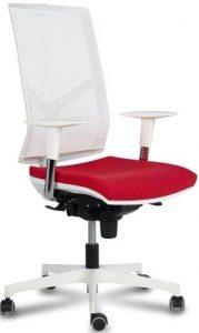 silla zoe 4 respaldo y estructura blanca brazos regulables blancos y base