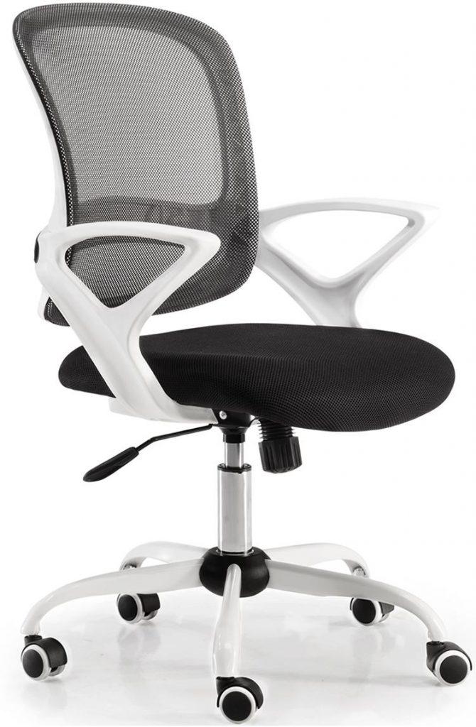 Silla Lisboa respaldo malla negra, asiento tapizado color negro estructura y carcasa blanco