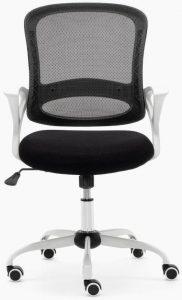 Sillas Lisboa sillas de escritorio respaldo malla negra, asiento tapizado color negro estructura y carcasa blanco