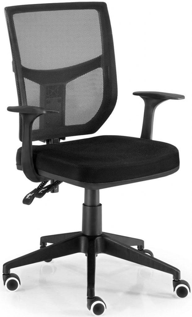 Sillas Roma respaldo en malla asiento tapizado en tela negra sistema mini sincro de regulación elevación por pistón base pvc negra