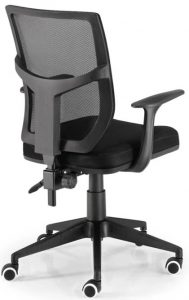 Silla Roma respaldo en malla asiento tapizado en tela negra sistema mini sincro de regulación elevación por pistón base pvc negra