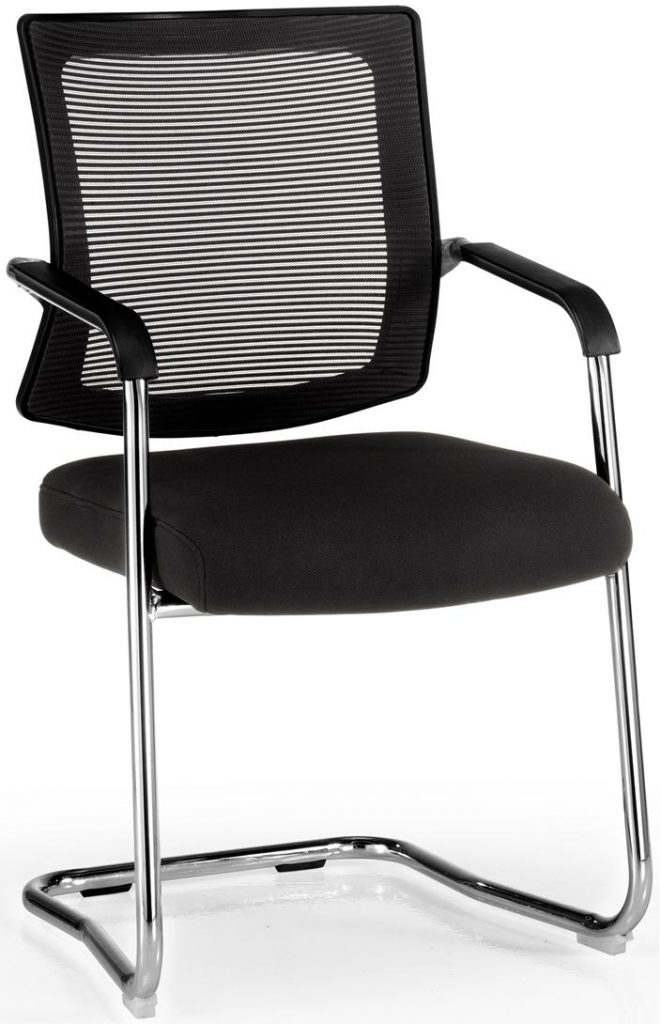 Silla Dallas BP respaldo en malla negra, asiento tapizado en tela negra base patín cromado, brazos cromados con o sin protectores