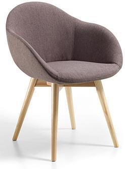 Butaca Donna Nest 16 base de 4 patas de madera asiento tapizado