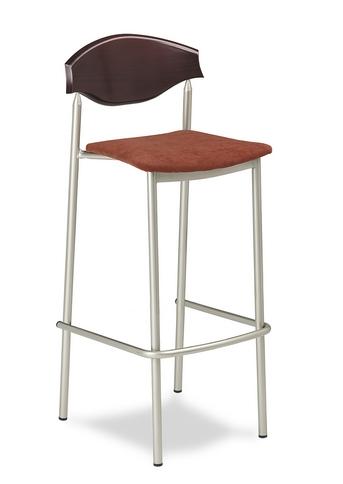 Taburete M 545 asiento tapizado y respaldo en madera estructura y reposapiés plastificado titanio