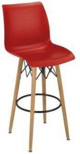 Taburete M 5710 rojo patas de madera reposapies metalico negro