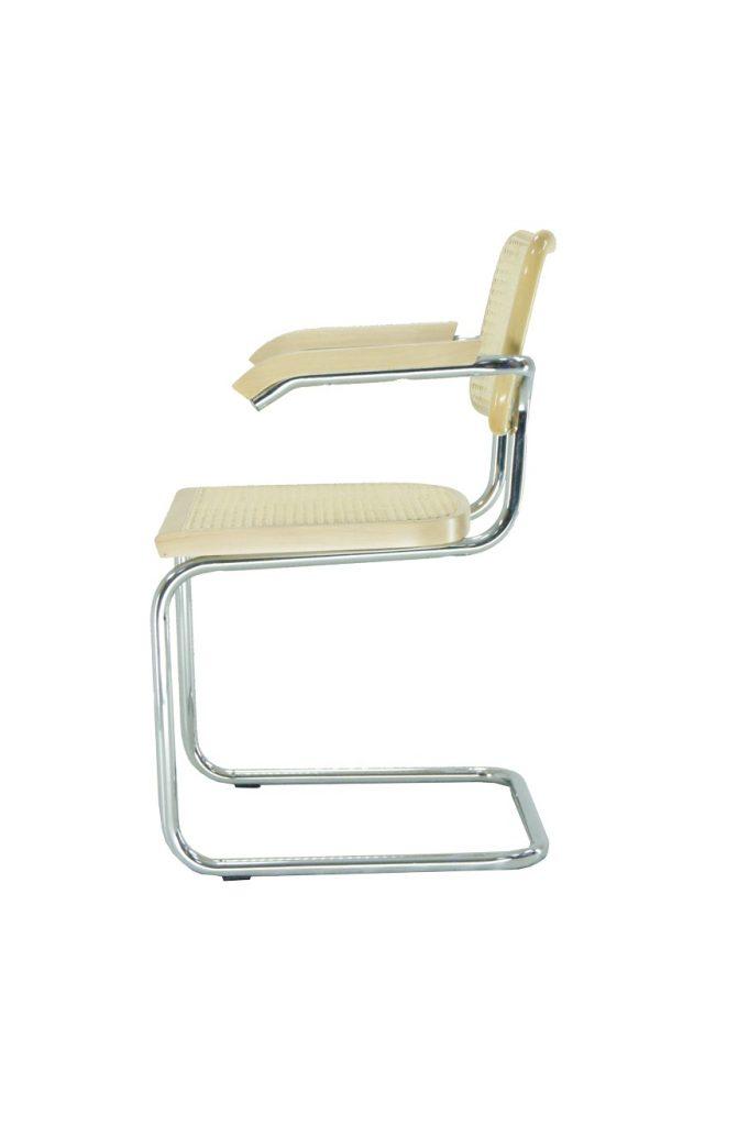 Silla Vienna MNTB con brazo marco madera barnizada rejilla natural