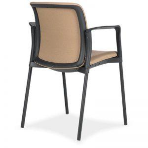 Silla Zoe tapizado asiento y respaldo marco tapizado estructura negra vista trasera