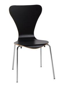 Silla M 141 haya laminado y curvado estructura gris aluminio color negro