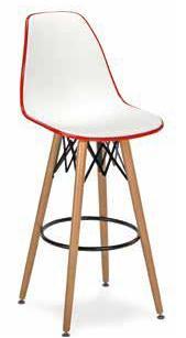 Taburete M 5700 colores blanco combinado con negro o rojo y base de madera