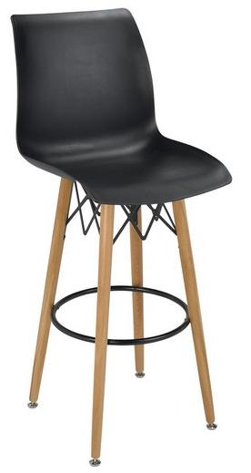 Taburete M 5710 patas de madera reposapies metalico negro