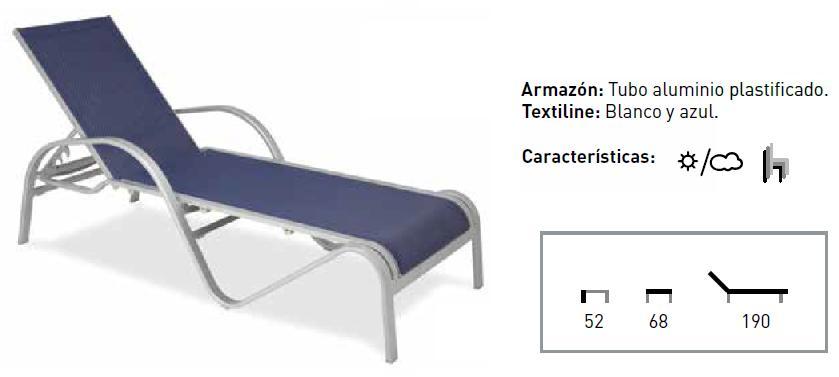 Tumbona M 804 respaldo y asiento en malla transpirable para hostelería y office