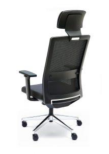 Silla NIZA N CB con cabecero tapizado en su color respaldo y asiento en color negro