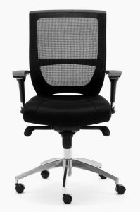 Sillas Malta GN respaldo malla ngra asiento tapizado negro