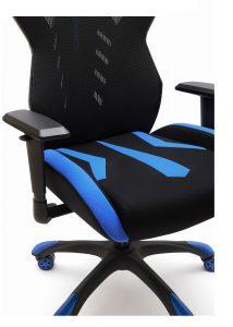 asiento silla galaxia vista lateral brazos regulables tapizada negro y azul