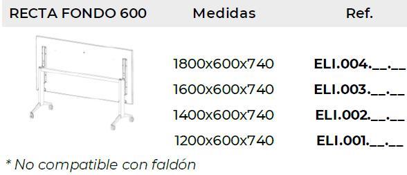 Medidas Mesas Elis Folding con fondo 60